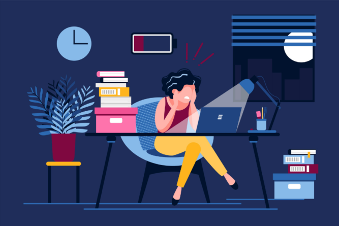Burnout Illustrated Woman Sitting at Her desk Surrounded by Tasks with a Battery Icon Running Low.